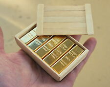 1/6 Scale Miniature Gold Bullion Bars and Wooden Crate for 12 Inch Action Figure