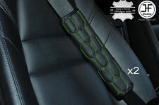 2X HEX GREEN STITCHING LEATHER LUXURY SHOULDER SEAT BELT PADDED PADS HARNESS