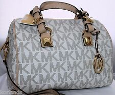 NEW MICHAEL KORS GRAYSON VANILLA PVC MK SIGNATURE CONVERTIBLE SHOULDER BAG PURSE