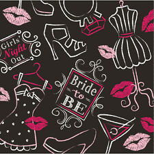 16 x Hen Party Beverage Drinks Napkins Bridal Shower Lips glasses bride to be