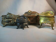 ANTIQUE METAL ART NOUVEAU JEWELRY TRINKET BOXES-NEED REPAIRS-AS IS-LOT OF FOUR