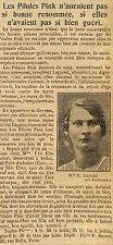 27 SELLES MME VEUVE ELIE LEFORT PILULES PINK PUBLICITE 1923