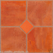 60 x Vinyl Floor Tiles - Self Adhesive - Bathroom Kitchen BN, Orange Classic 182