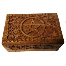 Handmade Pentacle Wooden Box- Vintage Jewelry Herbal Tarot Card Box