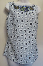 Boden UK8 EU36 US4 grey/cream/black sleeveless cotton-silk beaded neck top