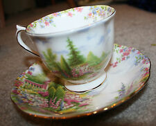 Royal Albert KENTISH ROCKERY Floral Landscape Tea Cup Saucer Bone China England