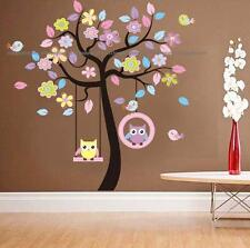 Animal Owl Bird on Swing Tree Flower Floral Wall Stickers Decor Children Nursery