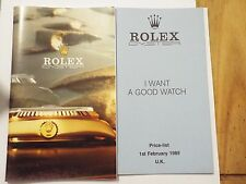 Rolex Watch Brochure / Catalogue With 1985 Price List - See Pictures