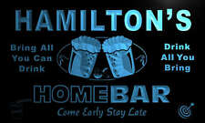 p1103-b Hamilton's Personalized Home Bar Beer Family Name Neon Light Sign