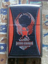 AUTOMOTIVE HARLEY DAVIDSON LEATHER EFFECT ZIPPO LIGHTER FREE P&P FREE FLINTS