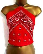 BANDANA Beaded Halterneck Bralet Crop Top  S 6 8 10 Red