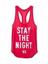 VICTORIA'S SECRET GRAPHIC SLEEP TANK LOVE RED STAY THE NIGHT RACERBACK LG