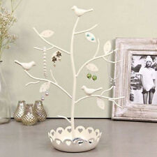 New Cream Metal Bird Jewellery Holder Tree Display Stand Necklace Bracelet Gift