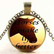 Vintage Horse make life better Cabochon Glass Bronze Pendant Necklace