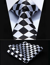 "TC351L7S Black White Check 2.75"" Silk Woven Men Tie Necktie Handkerchief Set"