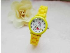 Kids Girls Hello Kitty Yellow Wrist Watch Analog Silicone Strap Water Proof