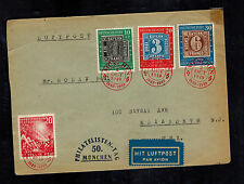 1949 Munich West Germany to USA cover # B309 666 667 668 FDC Stamp Centenary