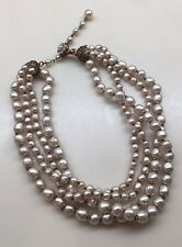 VINTAGE MIRIAM HASKELL SIGNED 4 STRAND BAROQUE PEARL NECKLACE WITH FLOWER HOOK