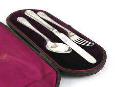 Victorian Sterling Silver Christening Travel Cutlery Set Martin Hall & Co 1864