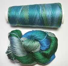 100% Pure Mulberry Queen Silk Yarn 50gm 3Ply Lace Weight Ocean Blues QS017 Lot E