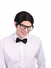 Mens Nerd Geek Wig School Boy Superman Side Parting Fancy Dress Prop