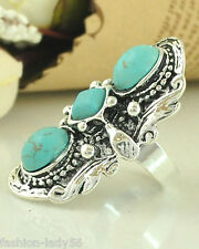 Retro Adjustable Tibetan Silver Rings Charm Carved Turquoise Finger Ring Jewelry