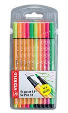 Stabilo Point 88 / Pen 68 Neon 10er Etui - Fineliner und Premium-Fasermaler