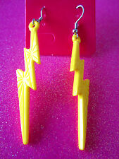 Yellow Lightening Bolt Dangle Earrings 2 1/4 Inches Long