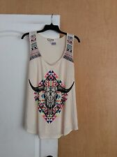 NEW Eyeshadow - Cream Printed front with embroidered Shoulders women top Plus 2X