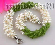 "z1460 4row 19"" nature olivine detritus baroque white pearl necklace"