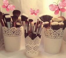 MAKE UP BRUSH HOLDER POTS White 2 X LARGE X 1 SMALL FREE POSTAGE UK SELLER