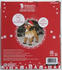 Rudolph The Red Nosed Reindeer Christmas Lawn Ornament Decoration 4.2 Ft New