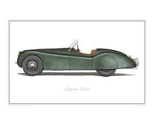 Jaguar XK120 green - Limited Edition Print (of 50) poster by Steve Dunn