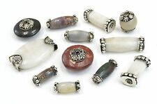 12 PCS HANDMADE AGATE STONE BEADING BEADS WITH CAPS #BD-376