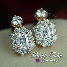 18CT Rose Gold Plated Luxury Bridal Stud Earrings W/ Clear Swarovski Crystals