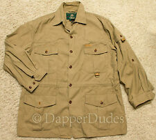 Nice! ORVIS Field Safari Hunting Jacket-Men's L-Khaki-Leather Trim-Pockets