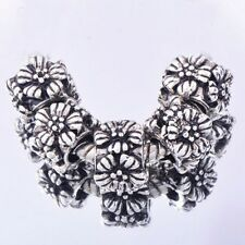 5PCS Silver Jewelry flower Charms Floating Spacer Beads Fit European Bracelet