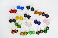 FREE wholesale 12pairs Fashion Heart Lampwork Glass bead Silver Tone earrings