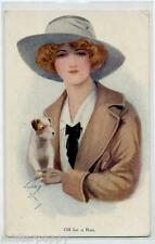 Artist Glamour Girl with Terrier Dog, Hat PC Vintage Circa 1910 Donnina con Cane