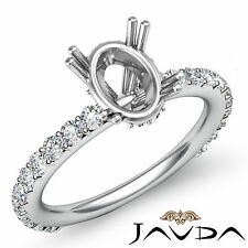 Fine Diamond Engagement Magnificent Ring 18k White Gold Oval Semi Mount 0.45 Ct.