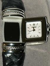 FENDI Elegant SPY WATCH MOP STAINLESS ETCHED MIRROR LEATHER BANGLE NIB $1095