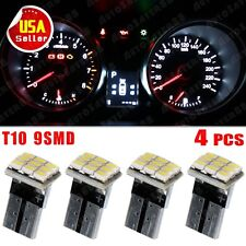 4X Super Pure White T10 Wedge 9SMD Instrument Cluster LED Light Bulb W5W 158 192