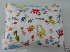 Child Toddler Cot Pillowcase - Dr Seuss Characters On White - 100% Cotton