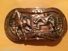 """Rodeo Scene"" Western Copper Belt Buckle Horseshoes, Horse, Cow, Cowboy"