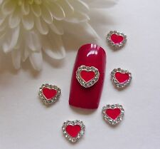 """3D Nail Art Valentines """"Silver Red Rhinestone Hearts"""" Curved Metal Alloy 10pc"""