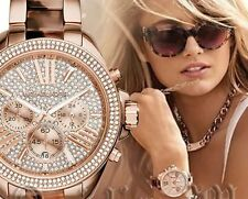 New! MICHAEL KORS Wren Crystal Glitz Rose Gold Blush Tortoise 42mm Watch MK6159