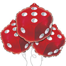"18"" Red Casino Dice Shape Mylar Balloon 3 Pack Game Party Gamble Poker Chance"