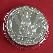 MEMORIES OF WARTIME BRITAIN 38mm HM SILVER PROOF MEDAL - VE DAY 1945
