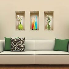 Set 3 Art Wall Stickers 3D Picture Removable Home Decor Vinyl Tile Decals Mural