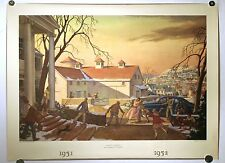 VTG 1952 LITHOGRAPH PRINT T.M. CLELAND 'HOME-COMING' HARRIS OFFSET PRESS TM ART